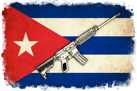 antique rifle: Cuba grunge flag background illustration of country with text