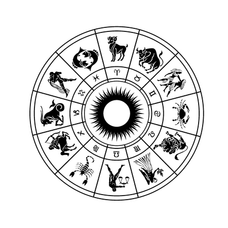 esoterism: Horoscope wheel of zodiac signs with symbol