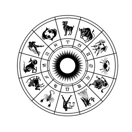 Ruota oroscopo di segni zodiacali con il simbolo Archivio Fotografico - 55012543