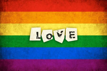 Grunge Rainbow flag background illustration of gay and lesbian with text