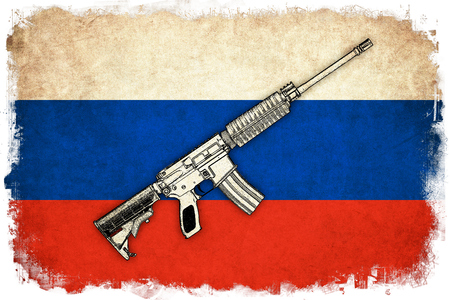 Russia grunge flag background illustration of country with gun
