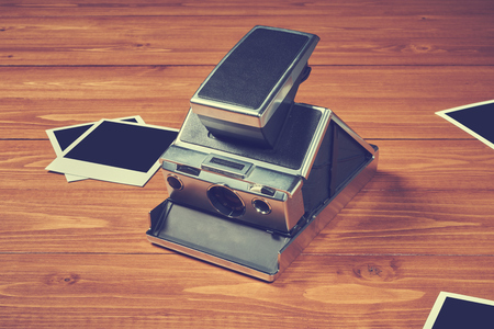 Old camera on table