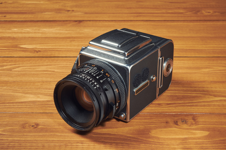 Old camera photography on wooden table