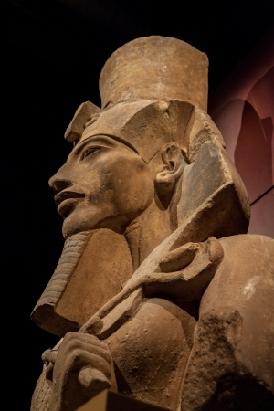 Side view of real statue of pharaoh