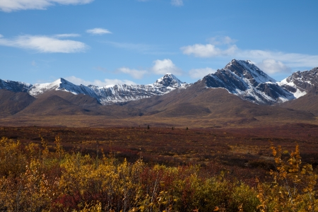 Wilderness of Alaska tundra in late fall with snow on mountains photo