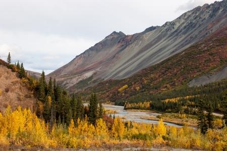 A small river winds through rugged Alaska wilderness photo
