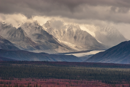 Fall photograph of mountains and receding glaciers photo