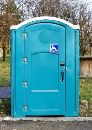 Photo of a blue toilet for disabled people photo