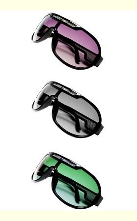 Magenta, blanck and white and green sunglasses over white photo