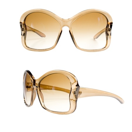Amber womanswear sunglasses over white Stock Photo - 14926490