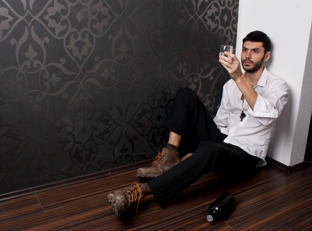 Bearded man staring at the glass Stock Photo - 15260216