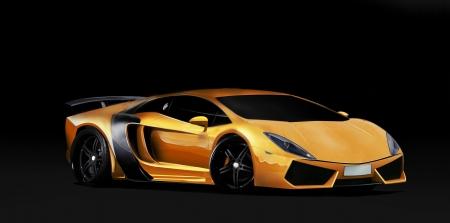 Oragne super car on black background