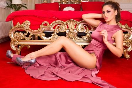 Beautiful model in a purple dress