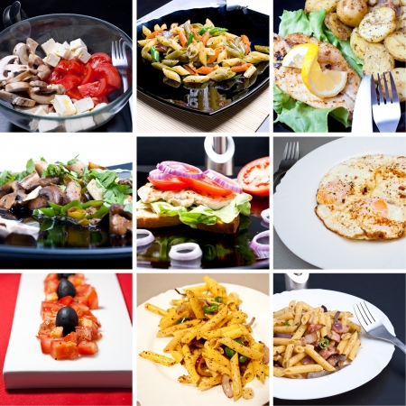 mediterranean cuisine: Collage of photos of diferrent meals Stock Photo