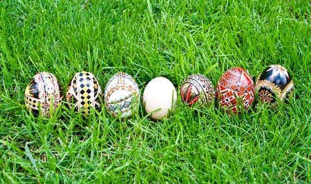 Beautifully colored easter eggs photo