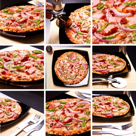 Collage of pizza photos shot from diferrent angles photo