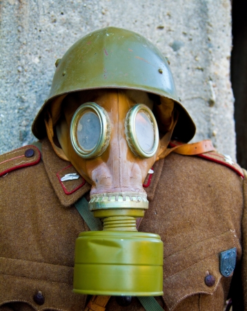 Gas mask on a mannequin (shallow dof, focus on goggles) photo