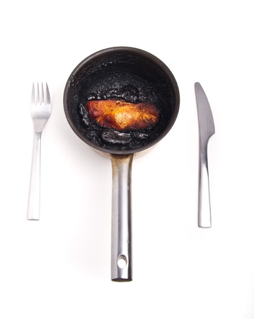 Burnt turkey breast in a pot