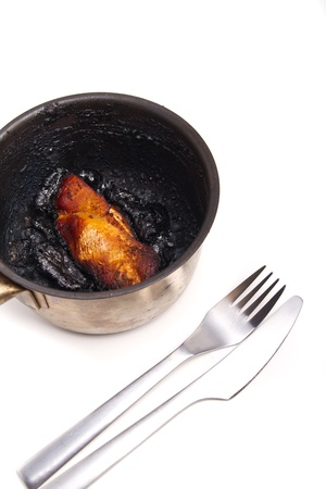 Burnt turkey breast in a pot photo