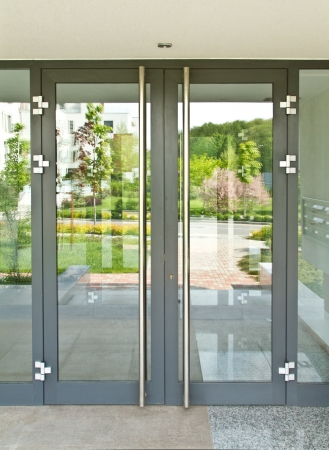 Glass door on a sunny day Stock Photo - 15537279