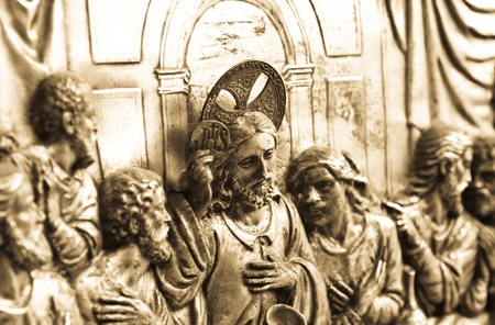 The last supper engraving with sepia effect