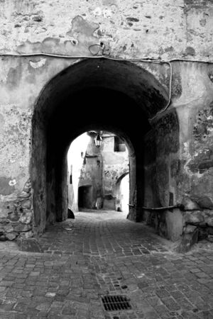 Passage way in a medieval fortress photo