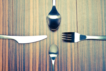 serving utensil: Aluminium spoon, fork and knife