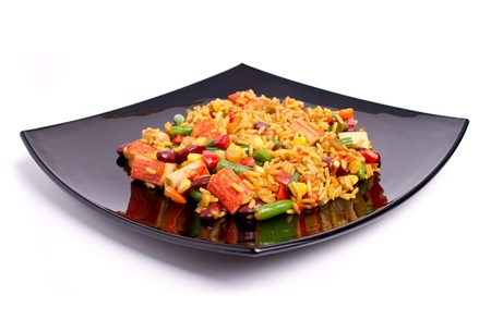 Rice with vegetables and surimi (crab stick)