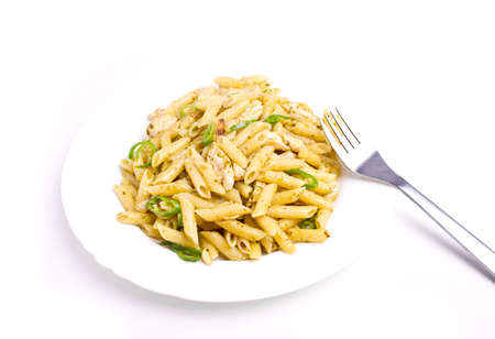 Penne with basil, olive oil and pine dressing photo