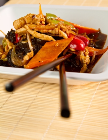 Chinese chicken with mushrooms and spices photo