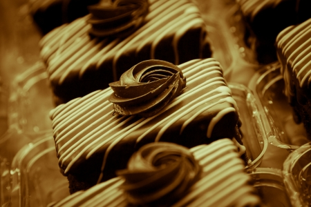 Chocolate cakes on the production line photo