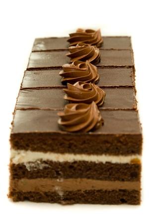 chocolatería: Chocolate cakesin una línea (foco en medio)