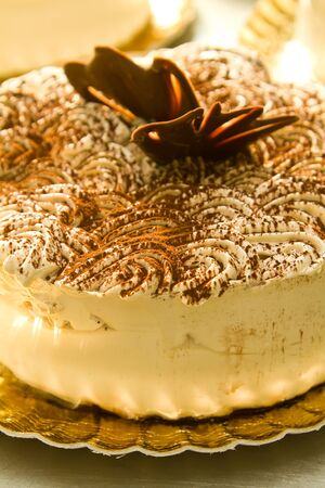 Close up of a Tiramisu cake on the production line photo