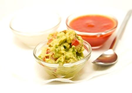 Nachos dips in glass bowls
