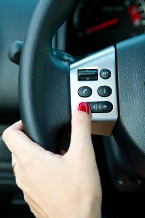 Multiple controls integrated in the wheel 版權商用圖片
