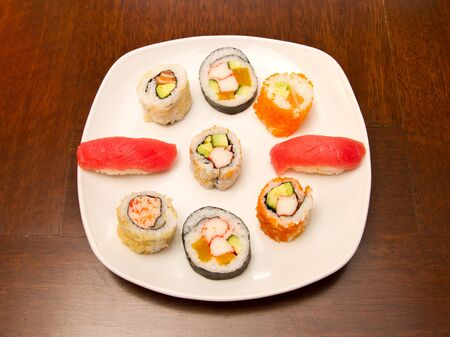 Different kinds of sushi on a plate Stock Photo - 15861782