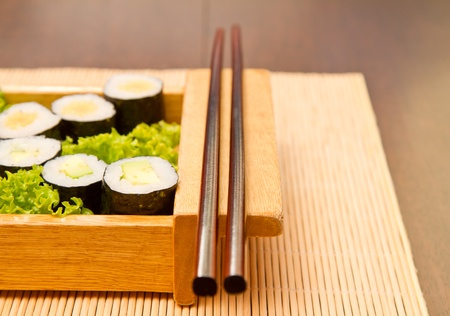 Different kinds of sushi on a wooden plate Stock Photo - 15861747