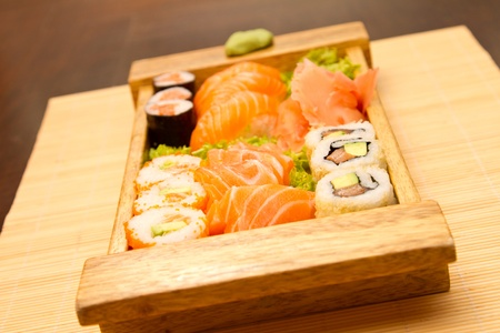 Different kinds of sushi on a wooden plate Stock Photo - 15861752