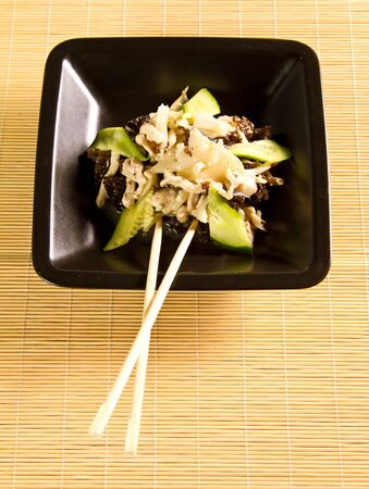 Chinese recipe with chicken and bamboo photo