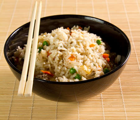 Healthy vegetable rice in a bowl photo