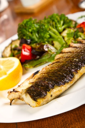 Grilled fish with grilled vegetables Stock Photo - 16122345