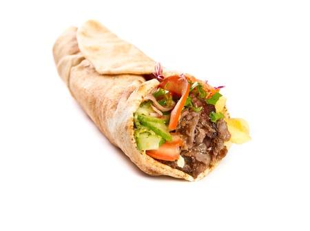 Kebap with grilled beef and vegetables Zdjęcie Seryjne
