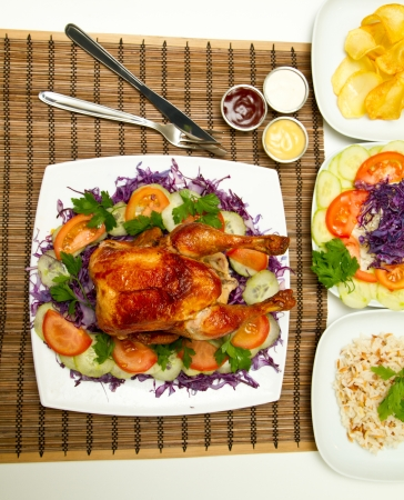 bbq chicken: Charcoal baked chicken and side dishes