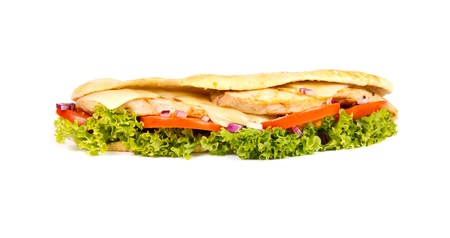 Chicken sub on white background photo
