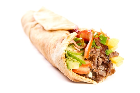 Kebap with grilled beef and vegetables Stok Fotoğraf