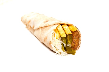 Vegetarian kebab with fries and vegetables Stock Photo - 20252621