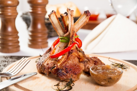 rack of lamb: Rack of lamb with onion jam Stock Photo