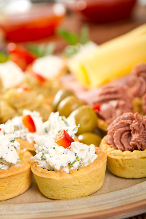 Diferrent types of bite size appetizers Stock Photo
