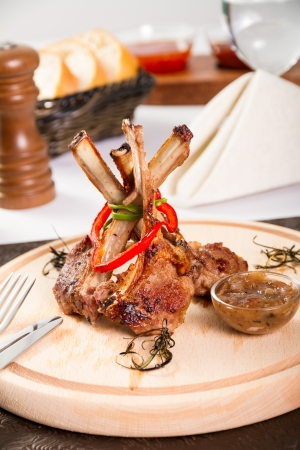 Rack of lamb with onion jam Stok Fotoğraf