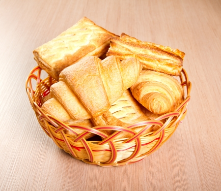 Pastry in a whicker basket Stock Photo - 24626964